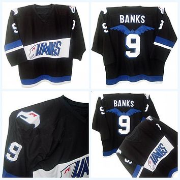 Mighty Ducks Movie Jersey Hawks Adam Banks #9 Men's 100% Stitched Embroidery Logos Throwback Hockey Jerseys Black