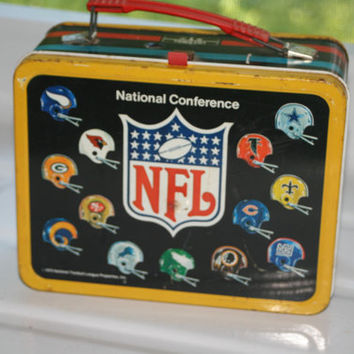 Rare Vintage 1975 NFL Lunch box with Thermos,Collectible Vintage,Castawayacres