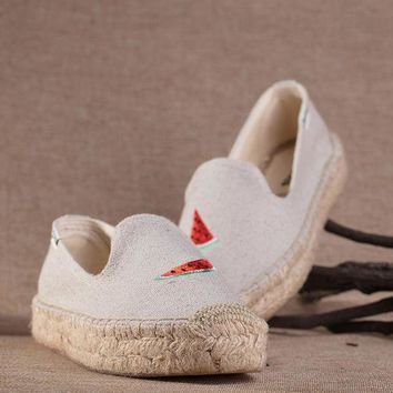 UCANUJ3V Soludos Women Thick-bottomed watermelon embroidered straw shoes