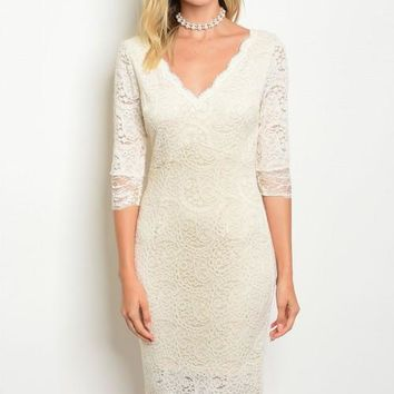SHORT CREAM LACE DRESS