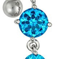 14g Sexy Reverse Mount Dangle Belly Button Ring with Cascade of Aqua Blue Crystal Gems