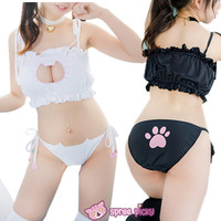 Black/White Sexy Neko Heart Attack Hallow Tube Top 3 Pieces Set SP151996 from SpreePicky