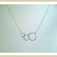 Eternity love Triple Circle Silver charm Necklace   by LaLaCrystal