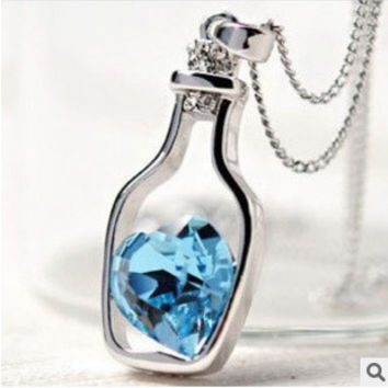 fashion Korean Womens Crystal Love Heart Drift Bottle Pendant Necklace Jewelry for women = 1669384772