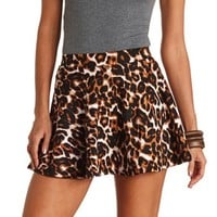 HIGH-WAISTED LEOPARD PRINT SKATER SKIRT
