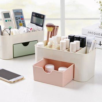 HIPSTEEN 1pcs Plastic Desktop Cosmetic Storage Box Container Zakka Phone Remote Control Organizer Box Holder With Drawer