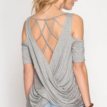 Criss Cross Back Top - Gray