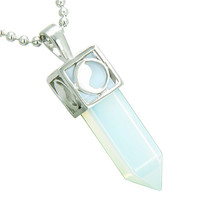 Positive Energy Yin Yang Amulet Crystal Point Lucky Charm Simulated Opalite Pendant 22 Inch Necklace