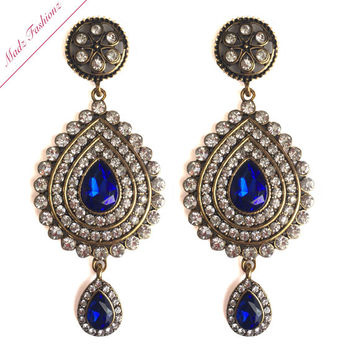 Antique Gold Royal Blue Bridal Chandelier Earrings Wedding Jewelry Crystal Earr