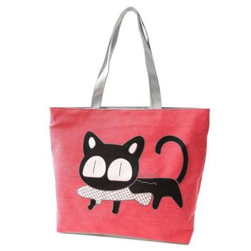 Cat Fish In Mouth Women's Shoulder Bags Beach Canvas Tote Purse Handbags Totes