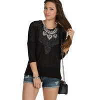 Black Glitz On Crochet Top