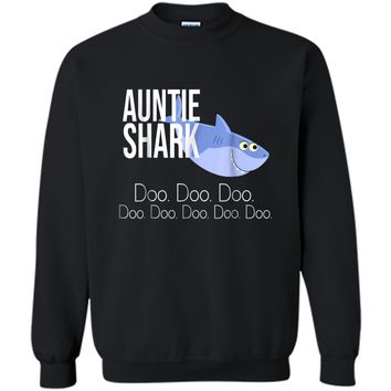 """Auntie Shark"" Baby Mommy Daddy Matching Family Shark  Printed Crewneck Pullover Sweatshirt"