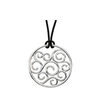 Diamond Scroll Circle Necklace, Sterling Silver and Black Leather Cord