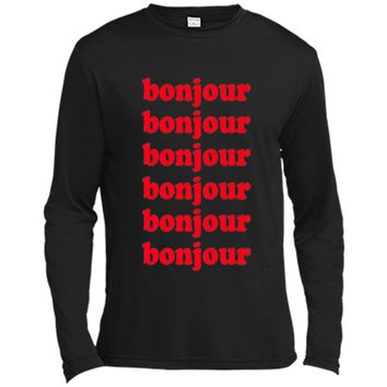 BONJOUR HELLO FRENCH WORD RETRO STYLE T-SHIRT shirt