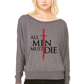 All men must die WOMEN'S FLOWY LONG SLEEVE OFF SHOULDER TEE