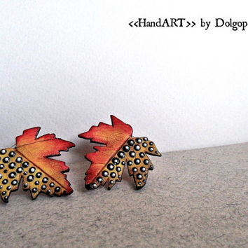 Polymer clay jewelry - Earrings - autumn leaves - Orange - Halloween - gift for her - Colorful earrings - Creative earrings - Trending item