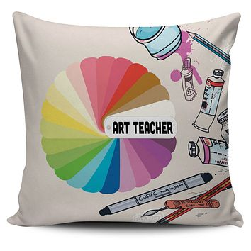 Colorful Art Teacher Pillow Cover