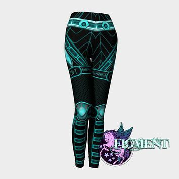 Blue Cyberpunk Leggings - robot leggings, cybergoth leggings, Halloween costume, rave leggings, compression leggings, cyborg leggings