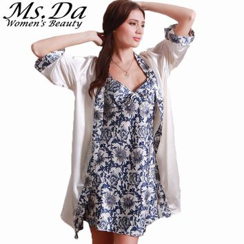 Women Nightgown Bathrobe Vintage Floral Print Pijamas Mujer Summer New Set 2 Piece Sleep Dresses Tunics Robe Femme