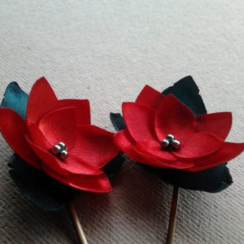 Ruby Red Hair Flowers Poinsettia Red Christmas Hair Clips Red Hair Clips Red Hairpins Holiday Christmas Shoe Clips - Set of 2