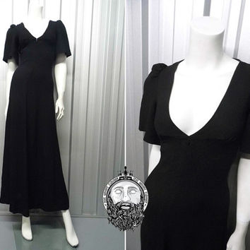 Vintage 70s BIBA Maxi Dress Black Evening Gown Bias Cut Moss Crepe 1930s Style Deep V Flutter Sleeves Plunge Neckline Long 1970s Designer