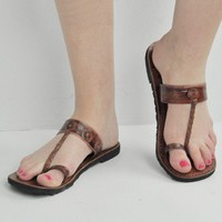 Mexicali Buffalo Leather Toe Loop Sandals -- Mexicali Blues