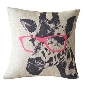 Glasses Giraffe Animal Style Cushion Cover Throw Pillow Case Bed Home Decor HU