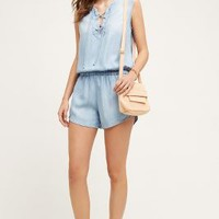Cloth & Stone Lace-Up Chambray Romper in Light Denim Size: