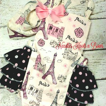 Girls Paris Romper, Baby Girls Paris Outfit, Rompers, Girls First Birthday Outfit, Girls Cake Smash