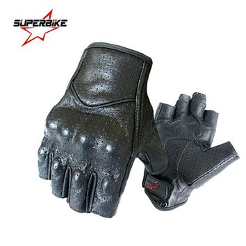 Motorcycle Gloves Mitt Glove Half Finger Fingerless Leather Summer Men Women Scooter Moto Mitten Electric Bike Racing Cycling