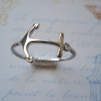 Sterling silver Sideways Anchor Ring, sorority, dainty everyday simple, modern, bridesmaid gift, beach wedding, nautical, best friends gift