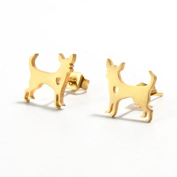 Fashion Animal Dog Stud Earrings Charm Stainless steel Cute Golden & Silver Chihuahua Earrings for women & Dog lovers 2018