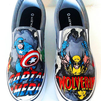 Marvel Comic Book-Mens Slip On-Hulk-X-men-Captain America-Iron Man-Spiderman-Wolverine-Xmen-Custom Decoupage Shoes-boyfriend gift-