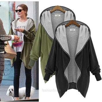 Women Coat Pockets Hooded Jacket Hoodies Cardigan Sport Blouse 3 Sizes Outwear