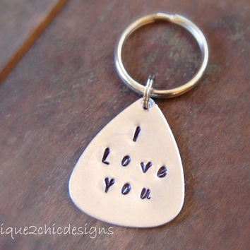 Personalized key chain Men key chain Sibling key chain Silver key chain Hand stamped Name key chain Personalized gifts Guitar Pick Sister