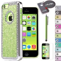 Pandamimi ULAK(TM) Luxury Glitter Bling Crystal Rhinestone Chrome Plastic Hard Case Cover for Apple iPhone 5C with Stylus and Screen Protector (Glitter--Light Green)