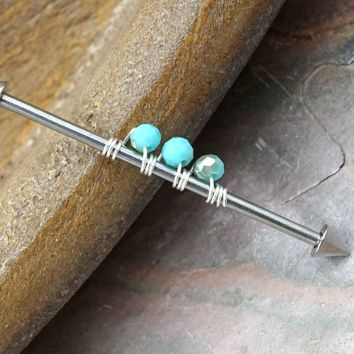 Iridescent Turquoise Beaded Industrial Barbell