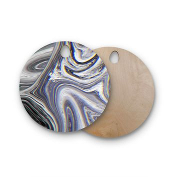 "Tobe Fonseca ""Marble Glitch Pattern II"" Black White Abstract Digital Mixed Media Round Wooden Cutting Board"