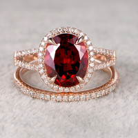 8x10mm Garnet Wedding Set Diamond Bridal Ring 14k Rose Gold Pave Thin Split Shank