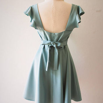 OLIVIA - Sage Green Dress Sage Green Party Dress - Back Zipper - Bridesmaid Dress Prom Party Cocktail Dress Sage Green Sundress no#198