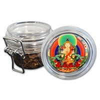 Airtight Stash Jar with Silicone Seal - Bodhisattva #1  - Food-Grade Plastic with Locking Wire Top - Smell Proof Hermes Container
