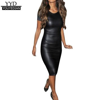 Ladies Dress 2018 New Arrival Women Short Sleeve O Neck Wet Look Faux Leather Bodycon Midi Sheath Sexy Skinny Dress #1207