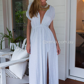 Grecian Dream Maxi Dress (Grey)