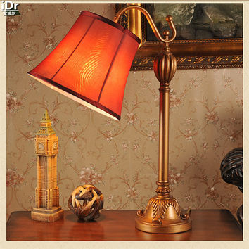 Gold Retro American work lamp long arm bent wrought iron bedroom rural home decor ideas Table Lamps OLU-0080