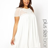Lipstick Boutique Swing Dress with Lace Yoke - Cream