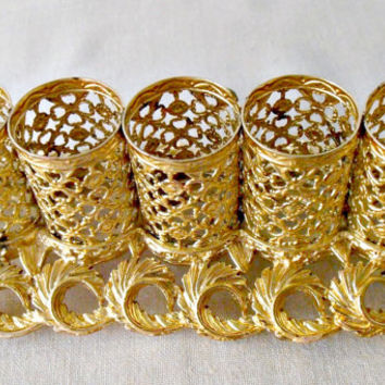 Mid Century Sam Fink Gold Filigree Lipstick Holder, French Ormolu Ornate Filigree Lipstick Tube Holder, Hollywood  Regency Vanity Decor