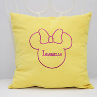 Personalized Pillow Covers Minnie Mouse Bow Custom Baby Girl Name Kids Mickey Mouse Pillowcase Pillow Cover Nursery Decor Throw Pillows V12