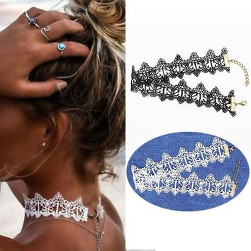 ESBON5U Ethnic white black Choker Necklaces hollow out lace collar tattoo Gothic Charms Statement accessories jewelry for couple lovers