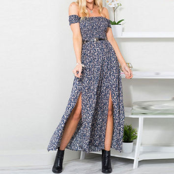 Fashion  Off Shoulder Short Sleeve Retro Floral Print Split Maxi Dress