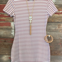 Ribbed Stripe Dress: Red